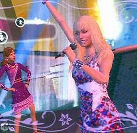 The cover art of the game Hannah Montana: Rock Out the Show.