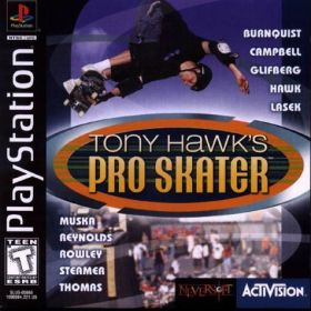 The cover art of the game Tony Hawk's Pro Skater.