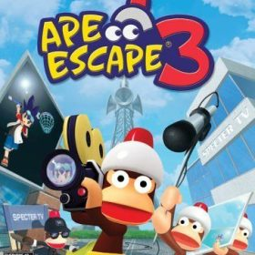 The cover art of the game Ape Escape 3.