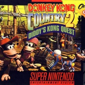 The cover art of the game Donkey Kong Country 2: Diddy's Kong Quest.