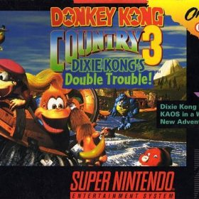 The cover art of the game Donkey Kong Country 3: Dixie Kong's Double Trouble.