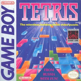 The cover art of the game Tetris .