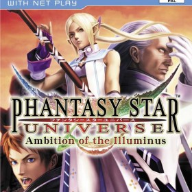 The cover art of the game Phantasy Star Universe: Ambition of the Illuminus.