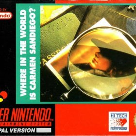 The cover art of the game Where in the World is Carmen Sandiego .