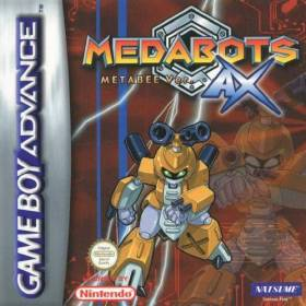The cover art of the game Medabots AX - Metabee Version.