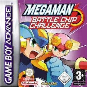 The cover art of the game Mega Man Battle Chip Challenge.