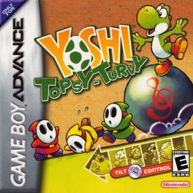 The cover art of the game  Yoshi Topsy-Turvy.