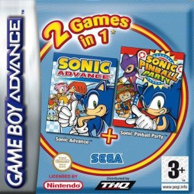 The cover art of the game 2 in 1 - Sonic Advance & Sonic Pinball Party .