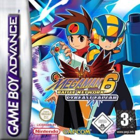 The cover art of the game Mega Man Battle Network 6 - Cybeast Falzar.