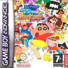 The cover art of the game Shinchan contra los Munecos de Shock Gahn .