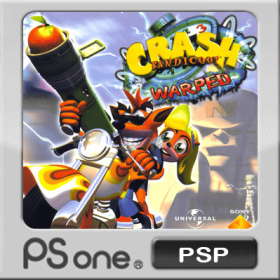 The cover art of the game Crash Bandicoot 3: Warped.