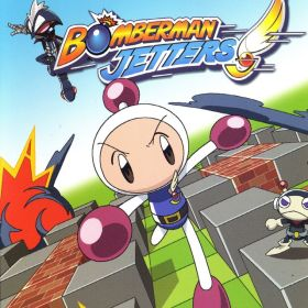 The cover art of the game  Bomberman Jetters.
