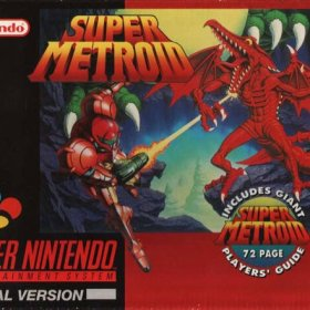 The cover art of the game Super Metroid.