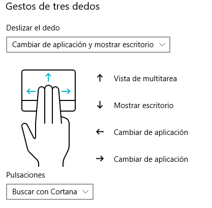 Gestos de windows 10 con tres dedos
