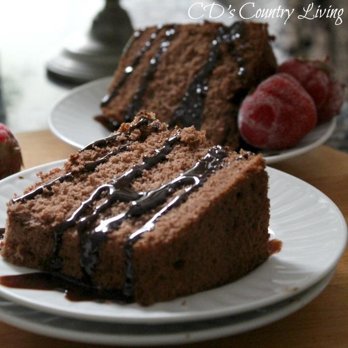Chocolate Ange Food Cake with Ganache Glaze