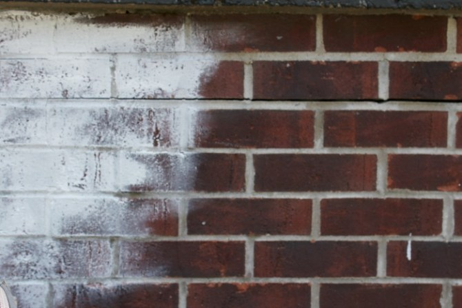 First application for whitewashing brick