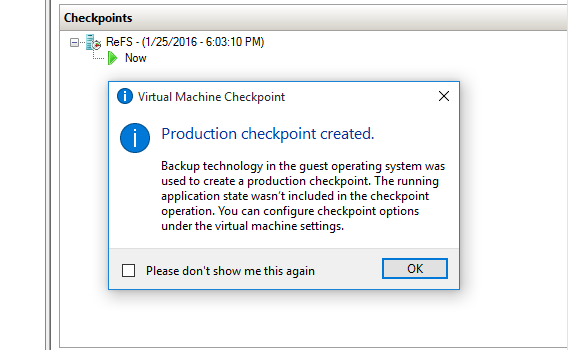 Production Checkpoint Manual Operation