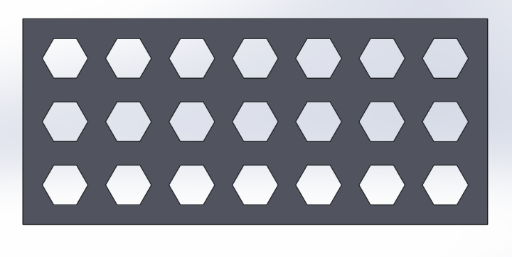 We designed a test plate to find the ideal hex bore size