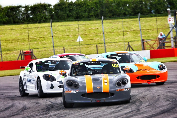 CDW Motorsport Ginetta G40 race car in the pack at Donington Park