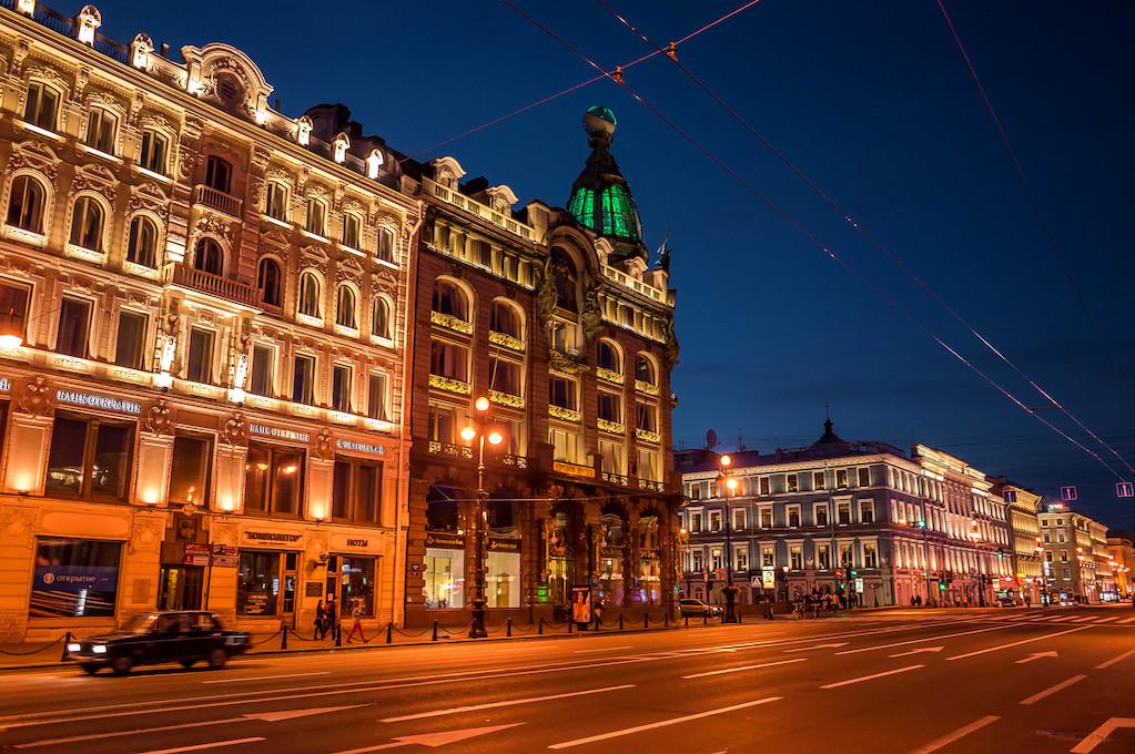 Cafe Singer and Nevsky Prospekt on a White Night