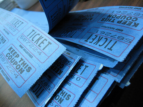 photo of blue raffle tickets