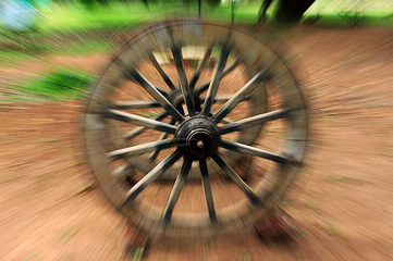 photo of old wagon wheel