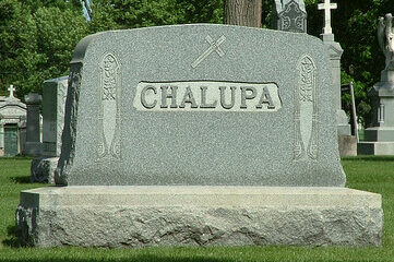 "photo of grave marker inscribed with the name ""Chalupa"""