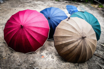photo of open umbrellas