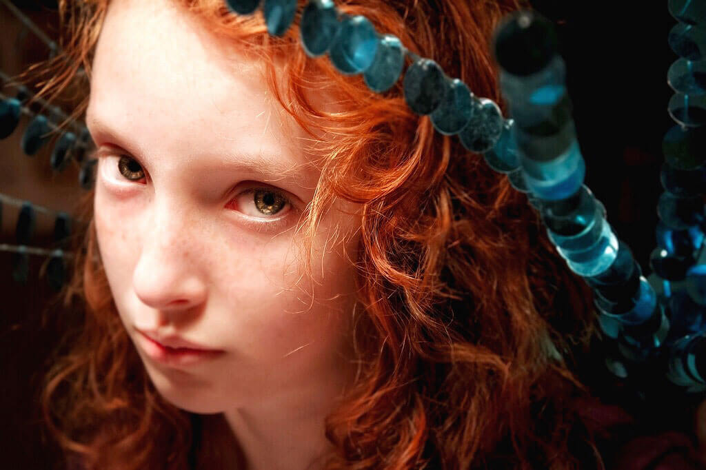 redheaded girl with green eyes