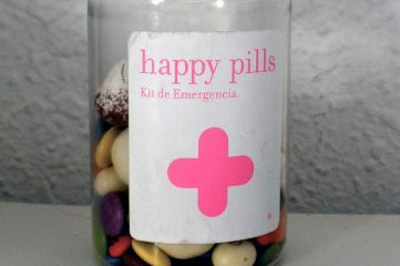 photo of medicine bottle containing happy pills