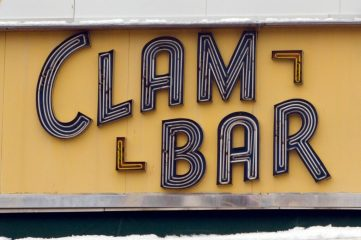 "photo of a sign that says ""Clam Bar"""