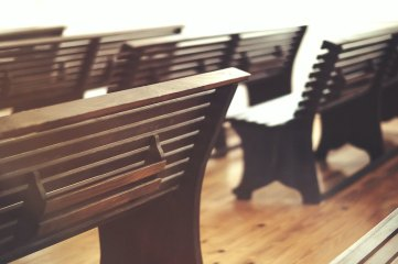 photo of church pews