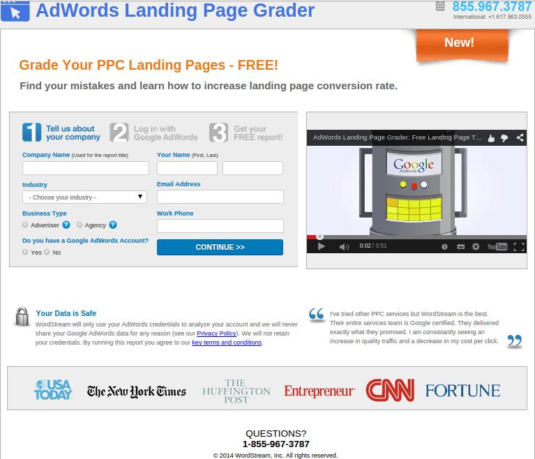 Wordstream Landing Page