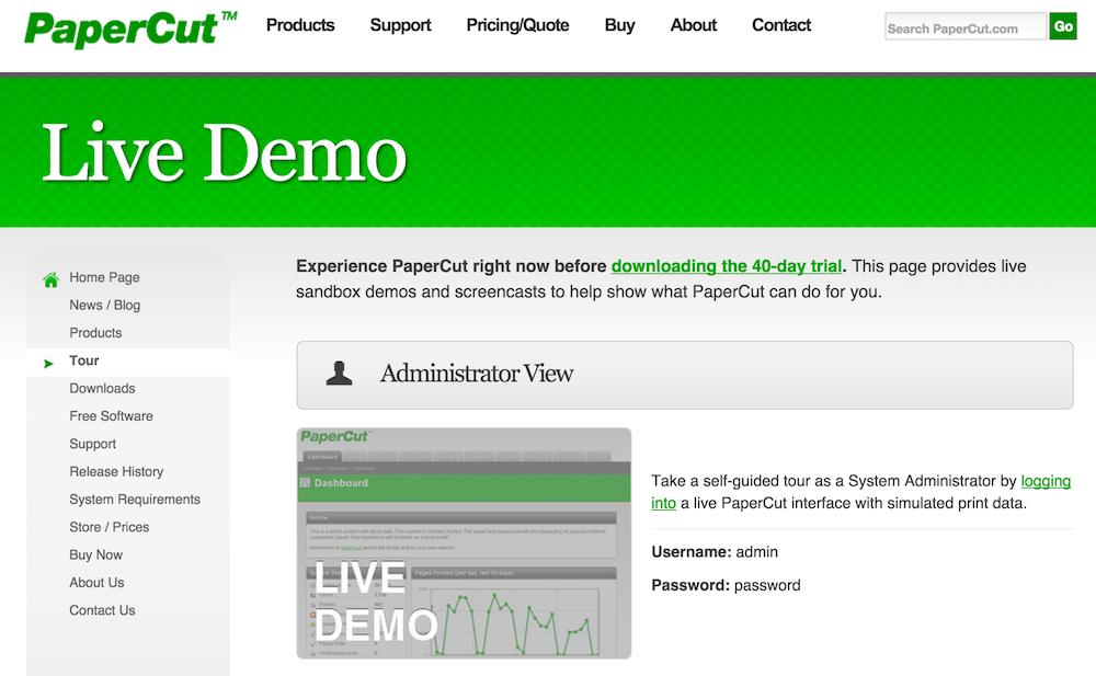 papercut live demo