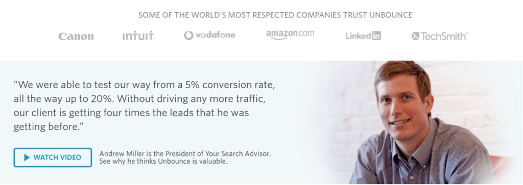 unbounce testimonial and brands