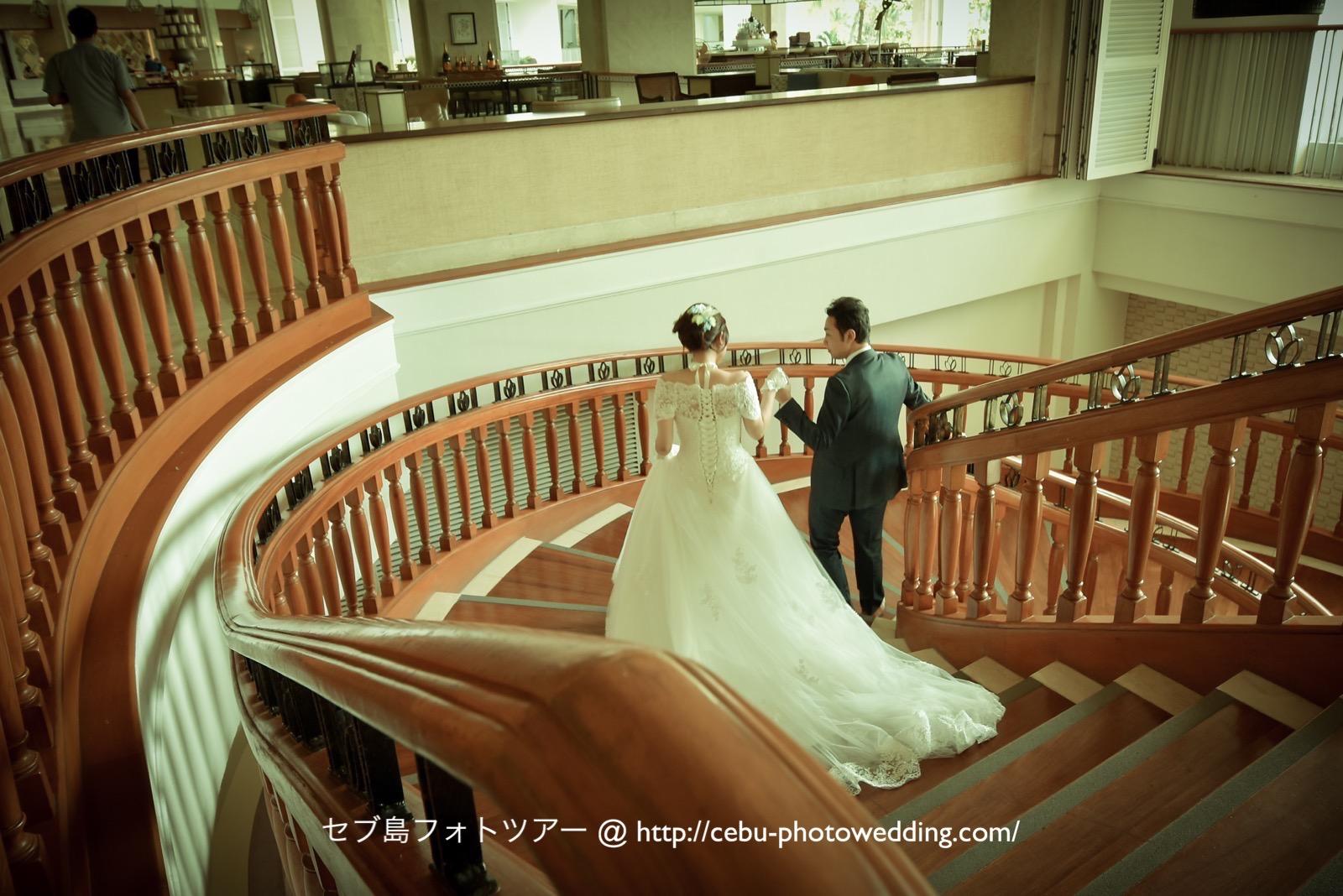 シャングリラセブで前撮り 螺旋階段