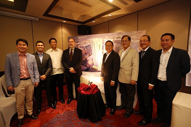 Representatives of the consortium — (from left) Darren Deen, RKD Property Holdings Inc. president; Franco Soberano of CLI; Architect Jojo Tolentino, AIDEA Phils. chief executive officer; Architect Norman Garden, Calliston RTKL design consultant; Joe Soberano, CLI chairman;  Hector Almario, 12Sika Holdings president; Bob Gothong, Gothong Southern Properties chairman and CEO; and Ricarido King, Acrissor Development Corp. president — launch the multi-billion project (CDN PHOTO/LITO TECSON).