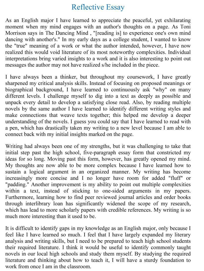 sample reflective essay gxart org