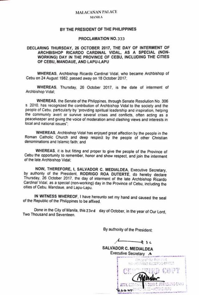 Malacañan Palace declares October 26, 2017, a special holiday in Cebu to honor Cardinal Vidal   Cebu Finest