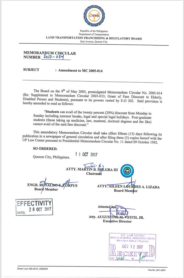 LTFRB issues memorandum for student fare discount on holidays, summer breaks | Cebu Finest