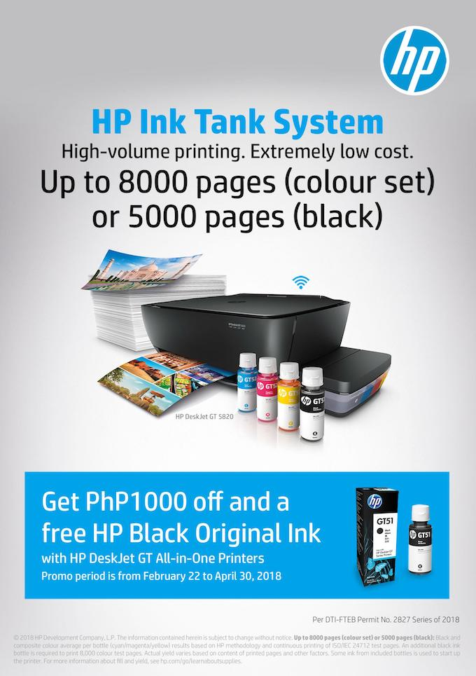Get ₱1000 price off and free ink with your HP Deskjet GT All-in-One Printer purchase | Cebu Finest