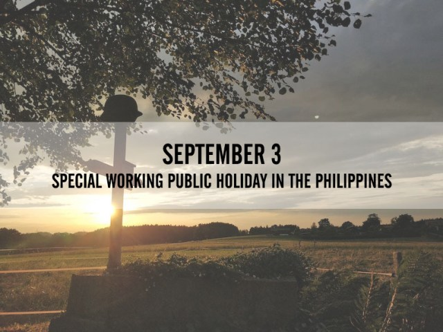 September 3 is a special working public holiday in PH   Cebu Finest