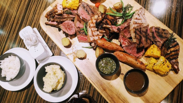 Enjoy high-quality meats, the Churrasco Platter, at Marble + Grain Steakhouse | Cebu Finest
