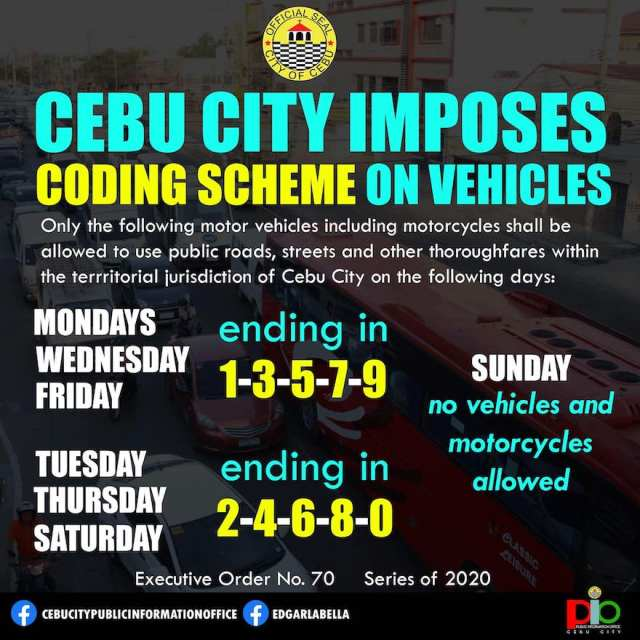 EO 70: Things you need to know about the Vehicle Number Coding Scheme in Cebu City | Cebu FInest