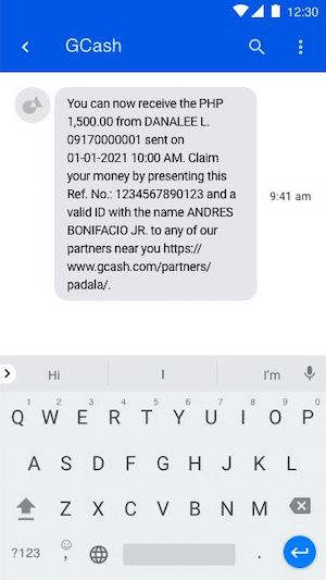 Recipient receives SMS with the reference number and amount to remit.   CebuFinest