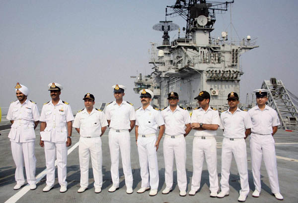 Rahul Raj Mumbai: Naval officers on board the Indian Navy's Aircraft Carrier, INS Viraat during the Navy Week celebrations in Mumbai on Tuesday. PTI Photo by Mitesh Bhuvad (PTI12_3_2013_000187B)