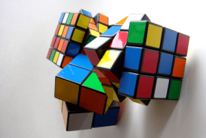several mixed Rubik's cubes