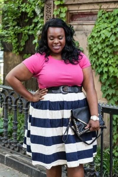 CeCe Olisa PlusSizePrincess.com Striped Skirt with Pockets