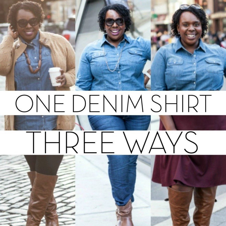 Three Ways to Wear a Denim Shirt PlusSizePrincess.com 2