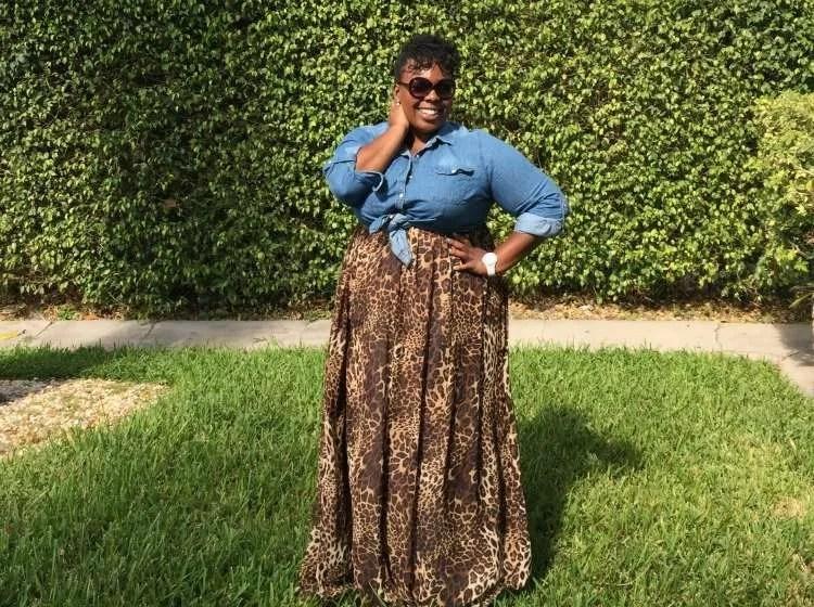 CeCe Olisa Plus Size Fashion Maxi Skirt Denim Top